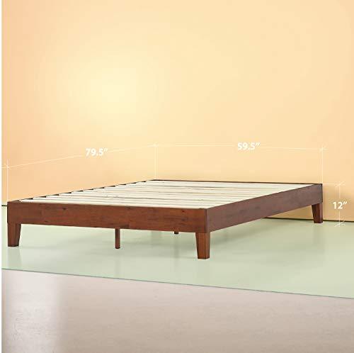 Zinus Wen 12 Inch Deluxe Wood Platform Bed / No Box Spring Needed / Wood Slat Support / Cherry Finish, Queen