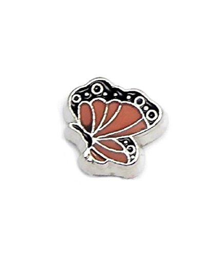 Cherityne Orange Butterfly Floating Charm for Locket Pendants