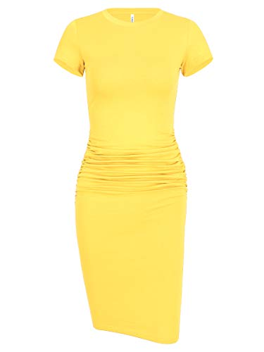 Laughido Women's Solid Color Ruched Bodycon Sundress Sheath Dress for Summer (Short Sleeve Yellow, Small)