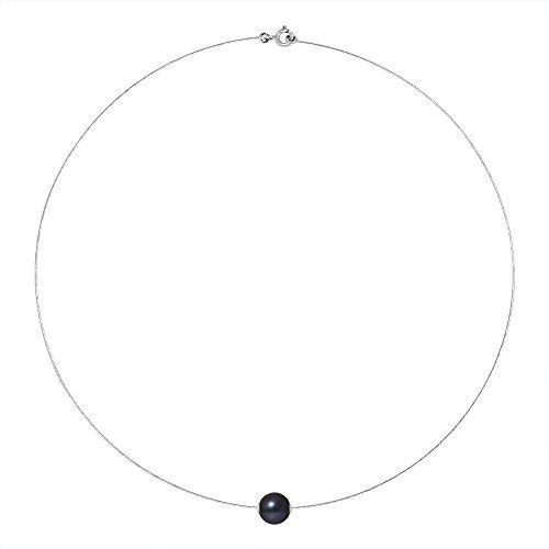 Pearls & Colors - Collier avec pendentif - Or blanc 9 cts - Perle d'eau douce - 42 cm - AM-9CC 116 R9B-BL
