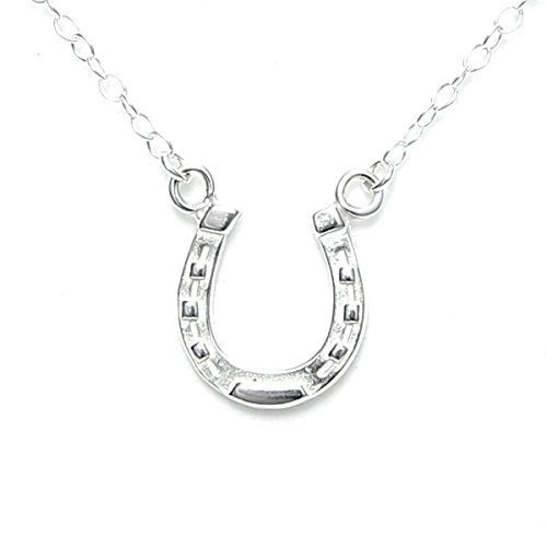 - Lucky Horseshoe Necklace Sterling Silver -Gift Packed with Good Luck Story Card - Solid Sterling Silver Made in USA