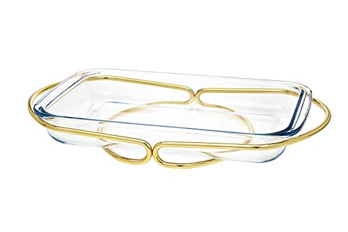 Oven to Table Glass Rectangular Baker, Warmer, Serving Piece with Woven Gold Base - 3 QT