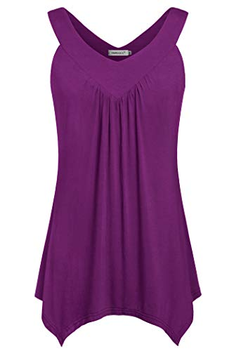 Helloacc Women's V Neck Tanks and Tops,Loose Casual Sleeveless Comfy Blouses Lightweight Handkerchief Bottom Flowy Flare Chic Tunic Blouse Fashion 2019 Off Shoulder Shirt Under 10 Classy Vest Violet L