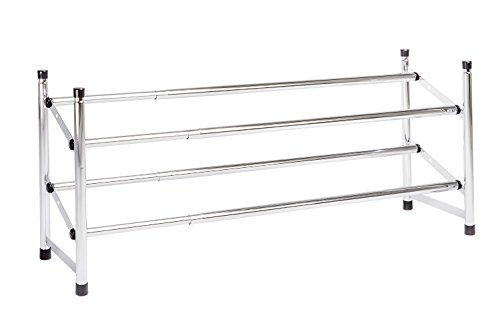 - USTECH Adjustable Stackable Chrome Shoe Rack