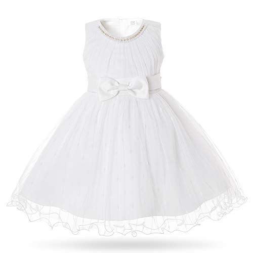 CIELARKO Baby Girl Dress Infant Flower Baptism Party Dresses for 0-24 Months (0-3 Months, White)