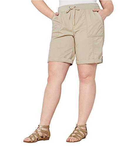 Avenue Women's Poplin Pull-on Short in Khaki, 18 -