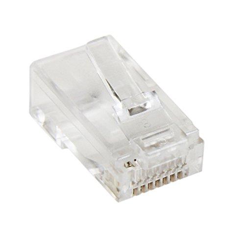 StarTech.com Cat5e RJ45 Stranded Modular Plug Connector - 50 Pkg - Bulk Cat 5e Plugs - 50x RJ45 Ends (CRJ4550PK)