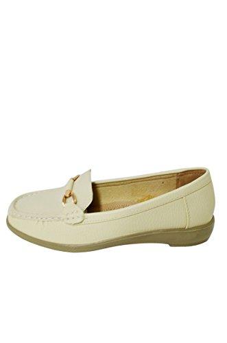 Dames Zachte Kunstleer Mocassin Loafer Slip-on Schoenen (miss-07 / Vivi-04) Cream-vivi-04
