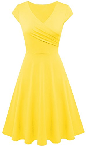 Dress Line Casual Neck Dresses Cap Yellow A for Sleeve Swing Women V 561w5xO