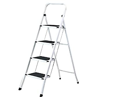 Uniware Heavy Duty Steel Step Ladder with Anti Slip Floors, Max Weight 150 KG /330 LB