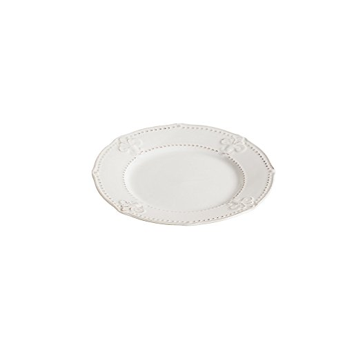 - Cypress Home White Ceramic Fleur de Lis 9 inch Salad Plate
