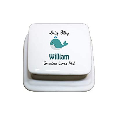 Style In Print Personalized Custom Text Silly Whale Porcelain Porcelain Jewerly Box