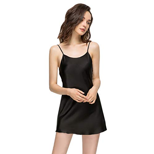 Miqieer Women's Long Silky Tank Top Adjustable Spaghetti Strap Camisole Slip Dress (O-Black, Medium)