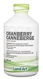 Pure Cranberry Juice -Concentrated Extract -Unsweetened (Serving size: 5ml) (100 Servings per bottle) (500mL) Brand: Land Art