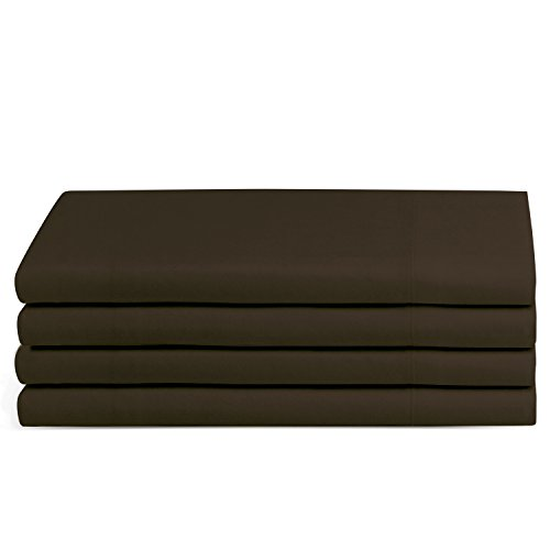 Beckham Hotel Collection Luxury Pillow Case (4 Pack) - Soft-Brushed Microfiber, Hypoallergenic, and Wrinkle Resistant - Standard/Queen - Brown