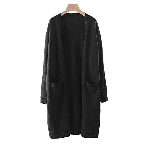 (Zerlar Knit Cardigan Boyfriend Sweater Open Front Long Sleeve for Women Ladies (Black))