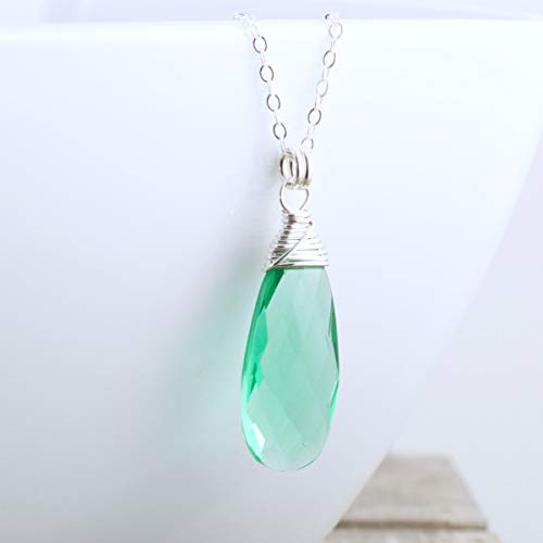Green Quartz Pendant Necklace Sterling Silver - 18
