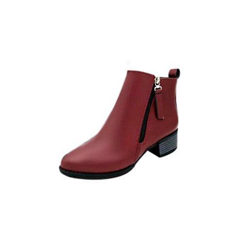 Du Vin À Fermeture Vintage Femmes Bottines Fulltime® Latérale Chaussures Glissière WZSz8Zn