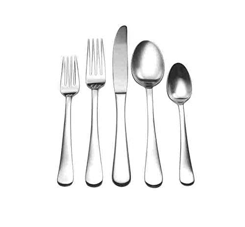 - David Shaw Splendide 20 Piece Stainless Steel Flatware Set | Beautiful Lucia Design, Soft Satin Matte Finish, Dishwasher Safe, Service For 4 (Salad Fork, Dinner Fork, Soup Spoon, Teaspoon, Knife)