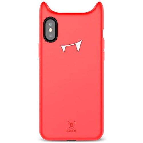 Giosio for iPhone X Case Cute Lovely Naughty Funny Devil Vampire Horn Horns Monster Demon Halloween Toy Cartoon Soft Silicone Shockproof Cover for iPhone X Red