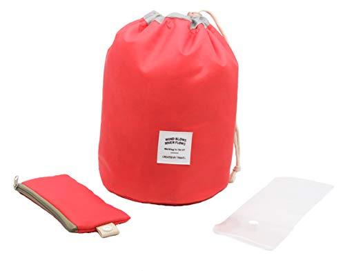 Waterproof Travel Bag Makeup bag Cosmetic Bag Travel Kit Organizer Bathroom Storage Cosmetic Bag Carry Case Toiletry Bag Multifunctional bucket toiletry bag(red)