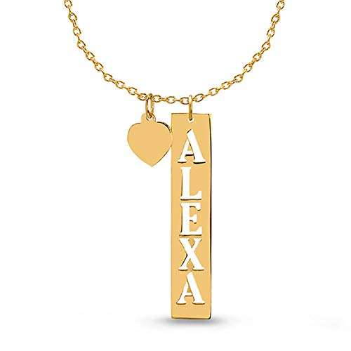 - 925 Sterling Silver Custom Vertical Cut Out Bar Necklace 18K Gold Plated Personalized Engrave with Any Name