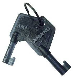 Time Clock Key - Amano Plastic Key AJR-201150 (set of 2) for the PIX 10/15/28/55/75/95 and TCX 45/85/88