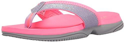 New Balance Girls' Jojo Thong Flip Flop, Pink/Grey, 3 M US Little Kid (Girls Pink Sandals Youth)