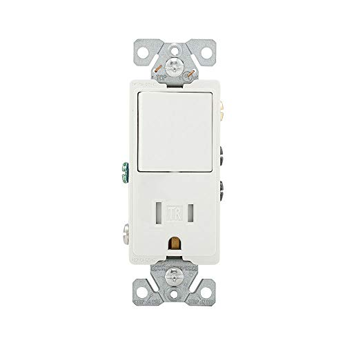 EATON Wiring TR7730W 15-Amp 3-Wire TR Receptacle 120-Volt Decorator Combination Single-Pole Switch with 2-Pole, White