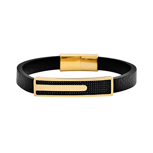 Geoffrey Beene Men's Genuine Leather and Stainless Steel Bracelet with Carbon Fiber ID, Gold