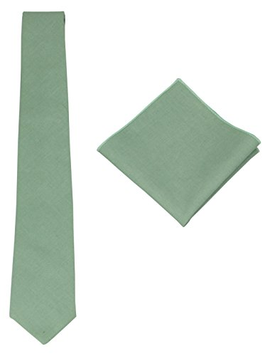 Mens Solid Skinny Linen Tie with Pocket Square Gift Set Various Colors (Dark Mint)