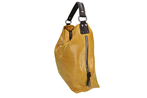 Tasche damen schulter PIERRE CARDIN gelb in leder MADE IN ITALY VN957