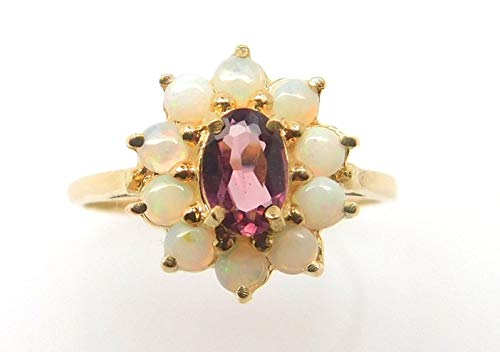 - 14k Gold Rhodolite Compatible for Genuine Natural Garnet Ring with Opals (#J3855)