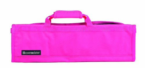 Messermeister 8-Pocket Heavy Duty Nylon Padded Knife Roll, Luggage Grade and Water Resistant, Pink