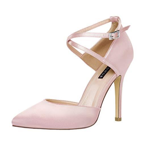 (ERIJUNOR E2264 Women High Heel Ankle Strap Satin Pumps Evening Prom Wedding Bridal Shoes Blush Size 6 )