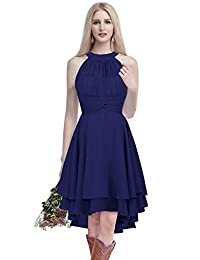 ThaliaDress Short Chiffon Halter Hi Lo Country Bridesmaid Dress Prom Gown T052LF