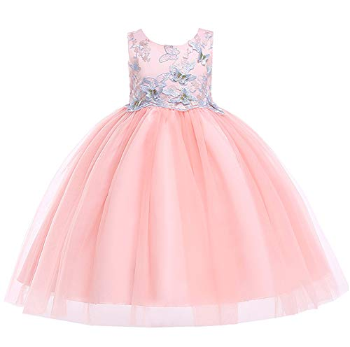 Kids Easter Christmas Birthday Pageant Party Wedding Formal Dresses for Toddler Girls Size 5 6 Years Tulle Ball Gown Daddy Daughter Dance Flower Girl Dress (Pink, 120) -