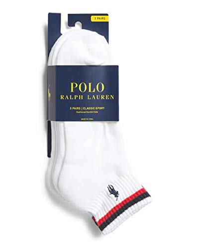 - POLO RALPH LAUREN Men's 6pk Quarter Socks, SIZE 6-12 (WHITE -2 STRIPES)