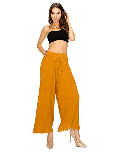 Made by T Women's Wide Leg Palazzo Pants - High Waist Maxi Long Lounge Pleated Pants Mustard One Size
