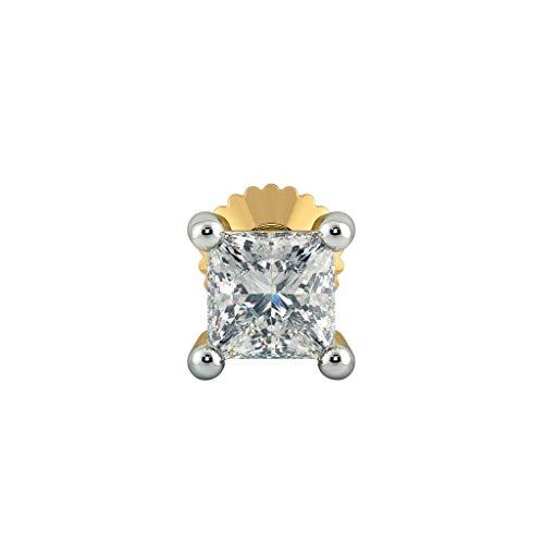 Dividiamonds 0.08 Cts Princess Sim Diamond Women's Galax Nose Screw Pin 14K Yellow Gold Plated -