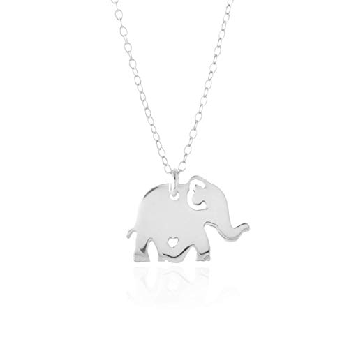 ELEPHANT NECKLACE - PURE Sterling Silver Necklace - Animal Necklace Charm, Lucky Elephant (Handmade in the USA by Gracefully Made ()