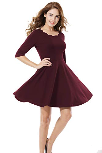 - Apperloth Women's Vintage Floral Scallops Neck Cocktail Formal Swing Party Dress Wine Red