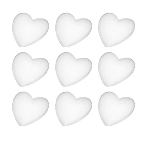 (EvaGO 20 Pieces 35mm Heart Transparent Glass Cabochons Heart Shape Clear Glass Cabochon Flat Backs Glass Marbles for Jewelry Making)