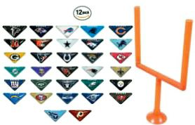 - fb 12 Random NFL Tabletops with One Goal Post - Football Fiki Flick It Team Helmet Logo Table Top Chinese Triangle Paper Finger Game - with Instruction Booklet - 2 Sided Team Colors