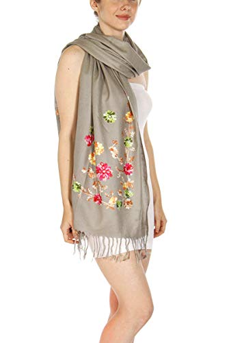 Floral Jacquard Scarf - Soft Pashmina Shawl Wrap for Women, Floral Embroidery Paisley Jacquard Large Size Stole, Grey