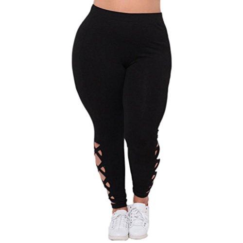 Women Plus Size Yoga Leggings Solid Criss-Cross Hollow Out Sport Elastic Pants