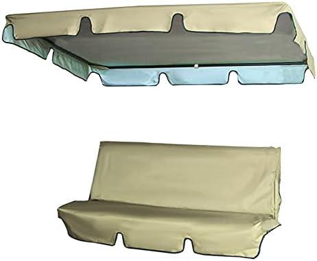 Vervangend dak voor 3zits schommelbank waterdichte tuinschommel met schommel Vervangende hoes Oxforddoek UVbescherming Zonnekapschommel Tuinschommelhoes voor schommelbank140cmx120cmx18cm