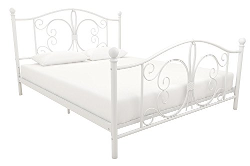Antique Cast Metal Vintage (DHP Bombay Metal Bed Frame, Vintage Design and Includes Metal Slats, Queen Size, White)