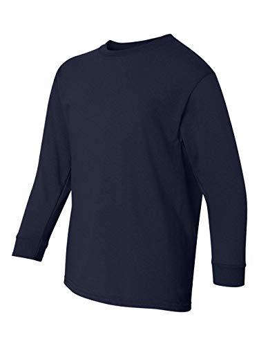 Gildan G540B Youth 5.3 oz. Heavy Cotton Long-Sleeve T-Shirt S NAVY - Gildan Youth Short