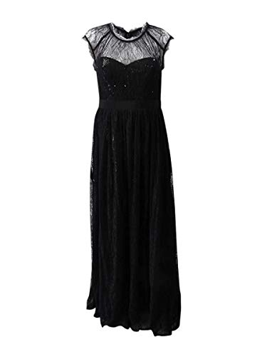 Adrianna Papell Women's Long Sequin Gown with Chantilly Lace Overlay Black 12